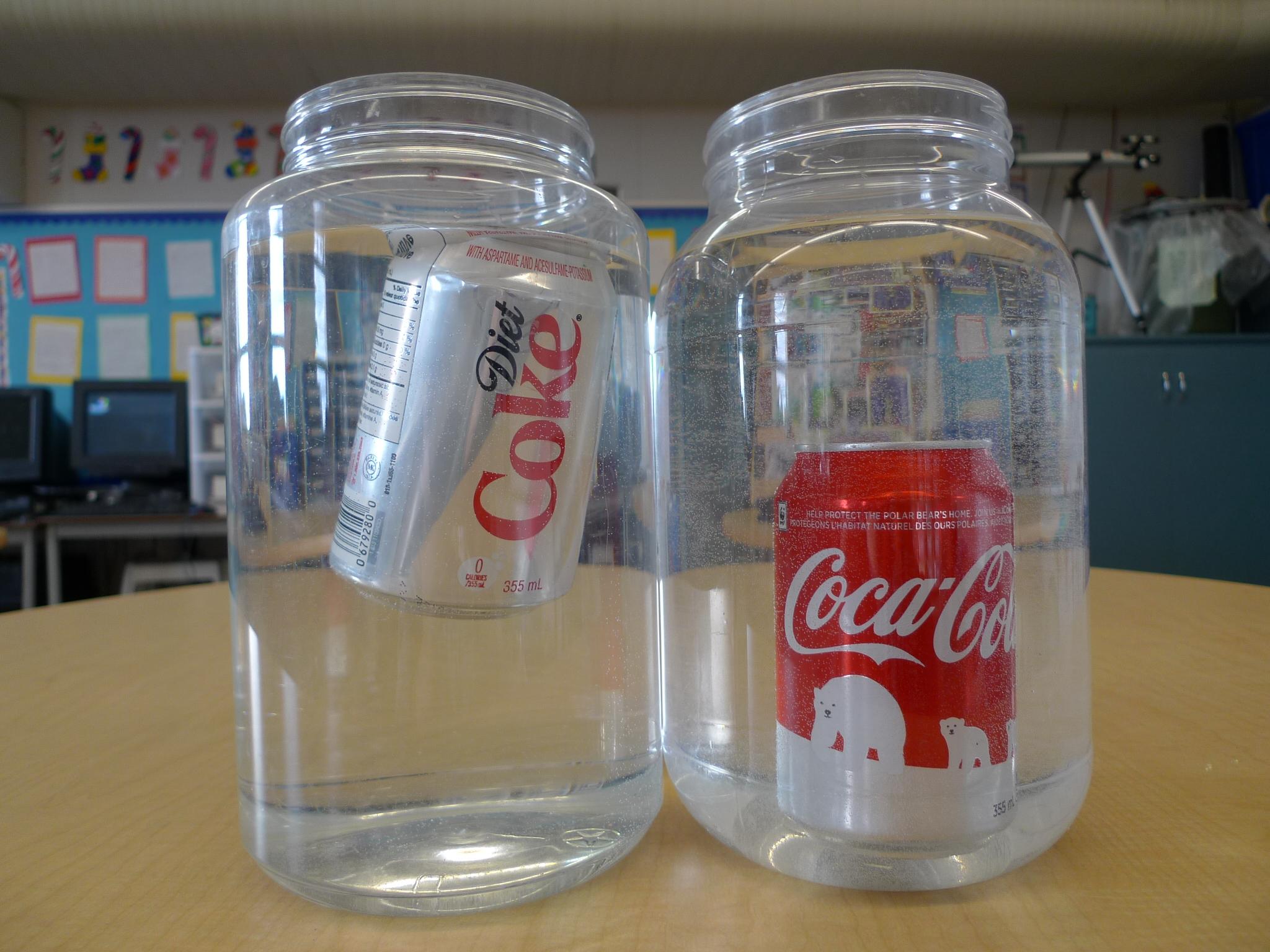 diet coke floats regular coke sinks